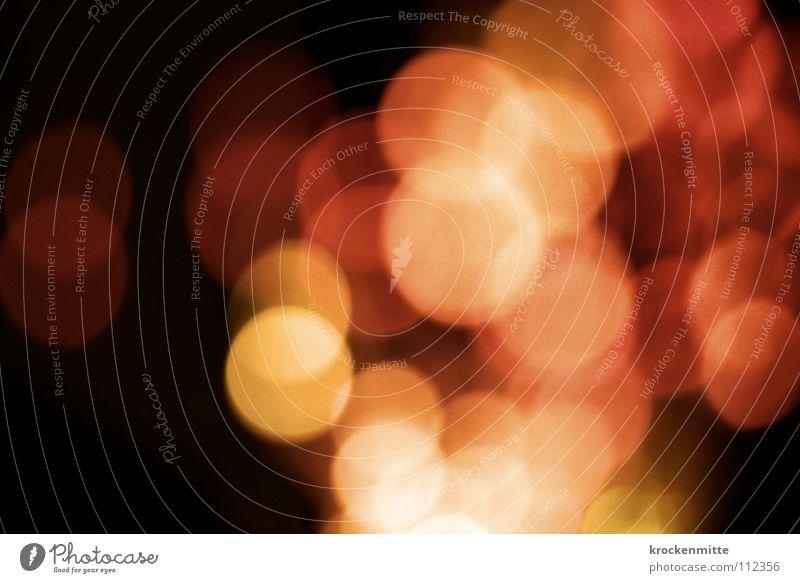 zuviel Champagner Licht abstrakt Kreis Nacht rot gelb Ausgang Nachtleben Unschärfe Alkoholisiert Farbe Lampe Punkt night getrübter Blick