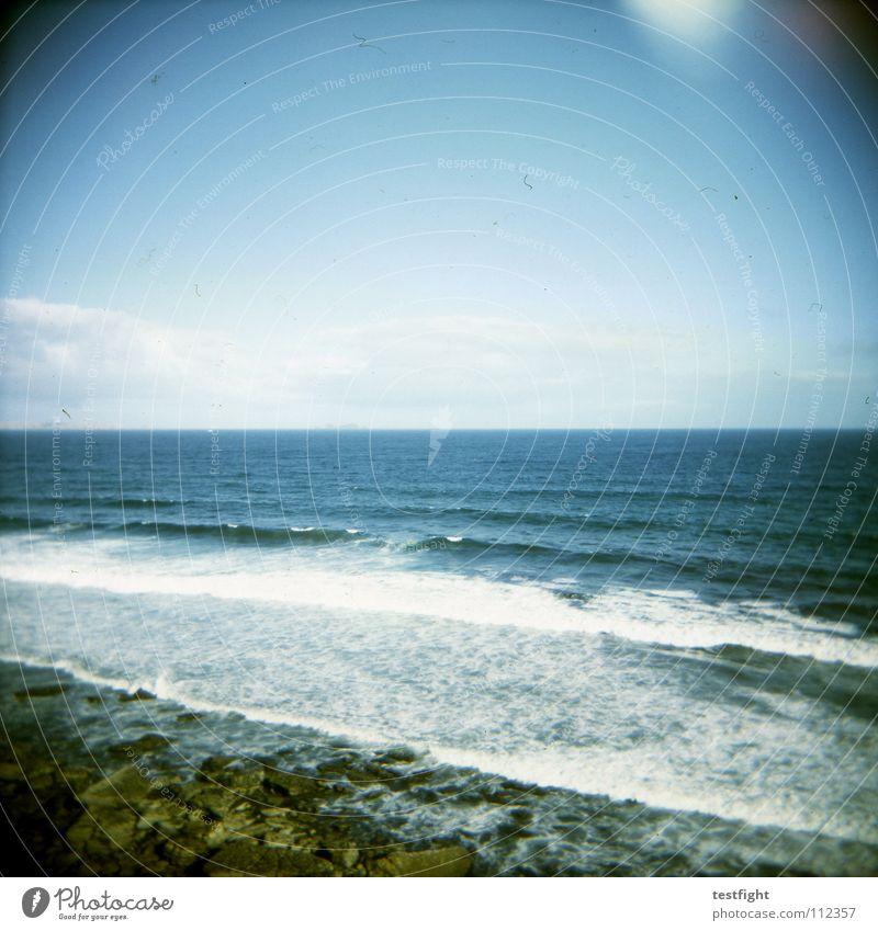 ozean Natur Wasser Himmel Sonne Meer blau Sommer Strand Ferien & Urlaub & Reisen Einsamkeit Ferne Erholung Freiheit Küste frei Europa