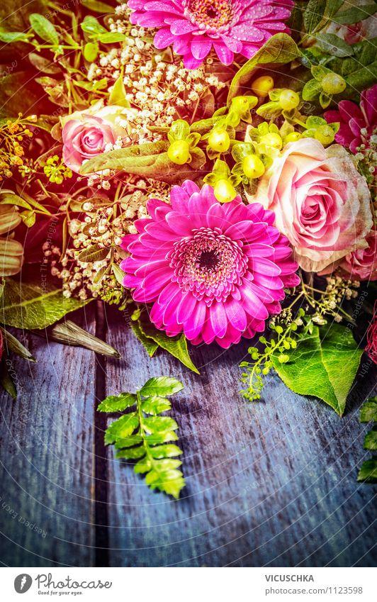 Blumenstrauß mit Gerbera schenken Natur Pflanze Blatt Freude Liebe Blüte Stil Hintergrundbild Feste & Feiern Garten Stimmung Lifestyle rosa Freizeit & Hobby