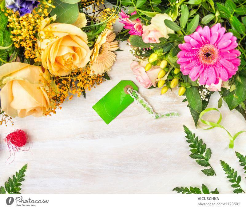 Blumenstrauß mit Karte Natur grün weiß Blume gelb Liebe Stil Hintergrundbild Feste & Feiern Garten rosa Design Dekoration & Verzierung elegant Geburtstag Tisch