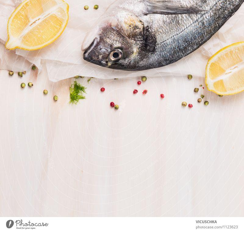 Dorade mit Zitrone Lebensmittel Fisch Kräuter & Gewürze Ernährung Mittagessen Abendessen Bioprodukte Vegetarische Ernährung Diät Stil Design Gesunde Ernährung