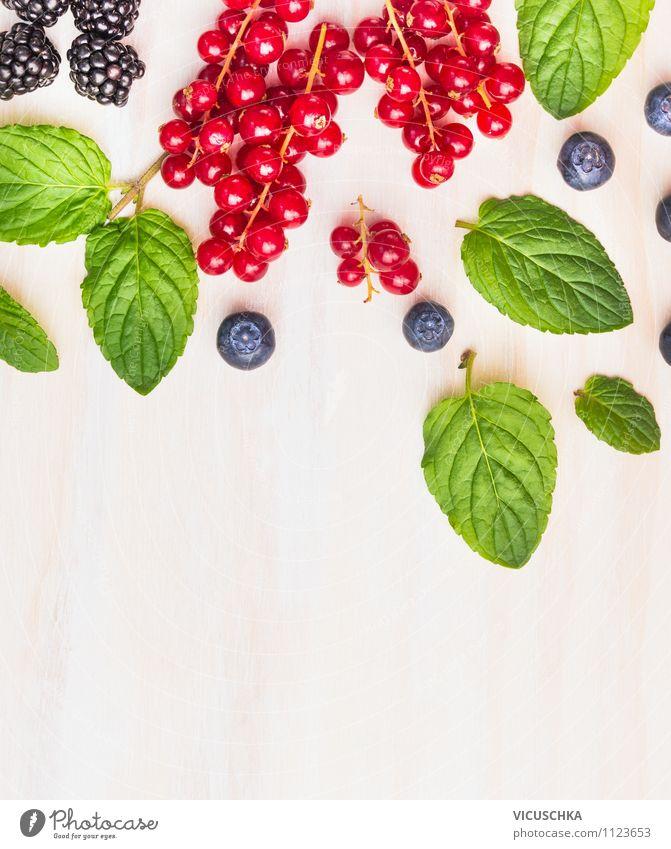 Minze Blätter mit Sommer Beeren Lebensmittel Frucht Kräuter & Gewürze Ernährung Frühstück Bioprodukte Vegetarische Ernährung Diät Saft Lifestyle Stil Design