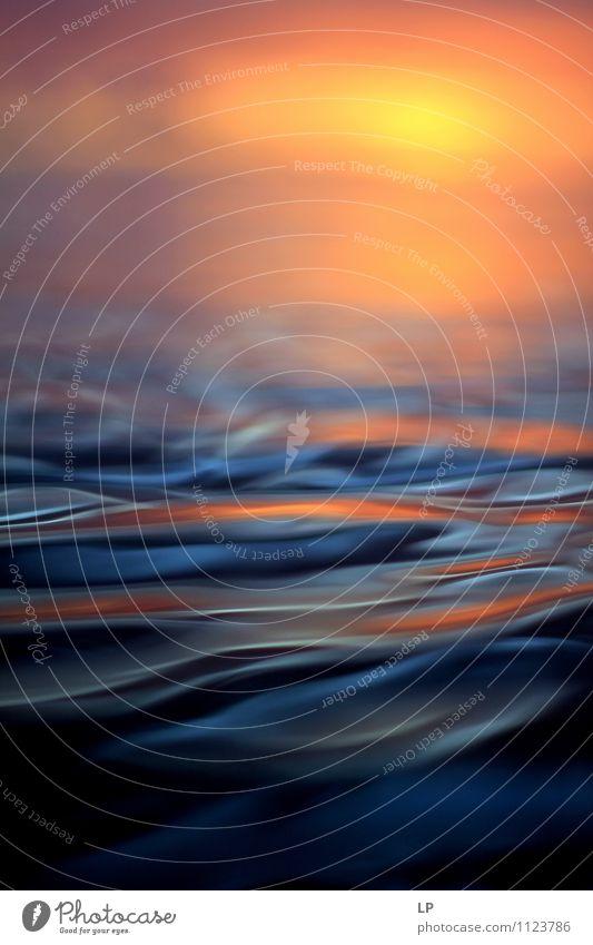 blau schön Wasser Sonne Meer Einsamkeit ruhig gelb Horizont träumen Zufriedenheit frisch Wellen gold einfach Warmherzigkeit