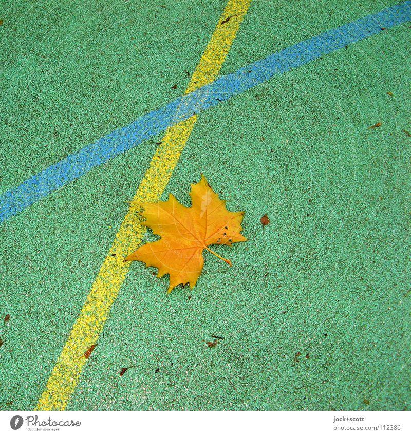MTV Linie kreuzen Geometrie Spielfeld Linienstärke verbinden begegnen Oberfläche Bodenbelag Achse Detailaufnahme abstrakt Strukturen & Formen dreckig