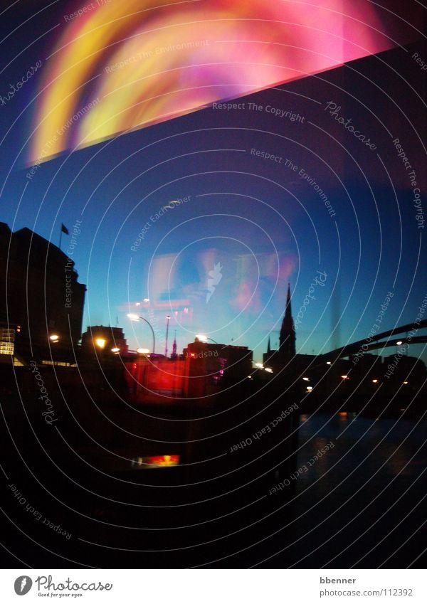 Eines Nachts in Hamburg... I mehrfarbig Fenster Kirchturm Nordlicht Freude Hafen Elbe Himmel Reflektion Fensterscheibe StJacobi Brücke Licht Kontrast