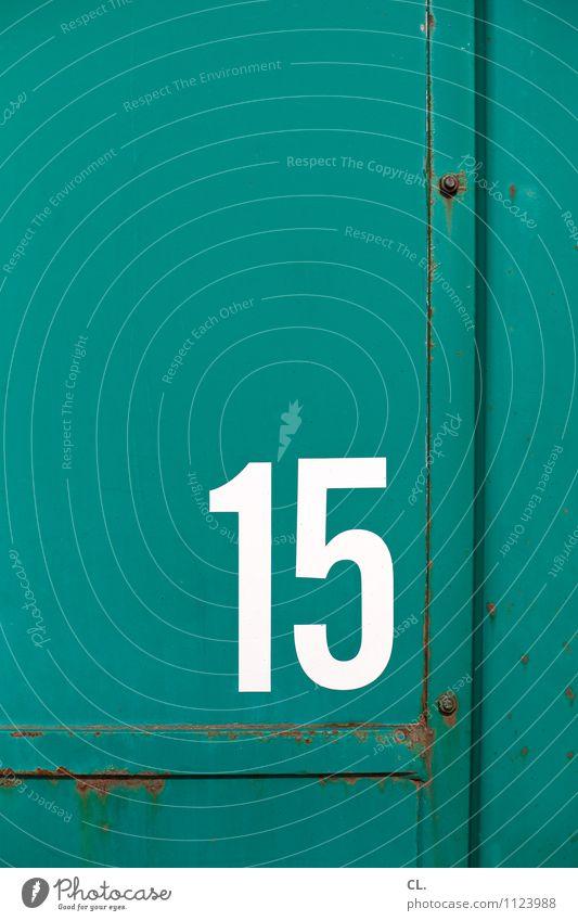 15 alt grün weiß Metall Ziffern & Zahlen Rost Container