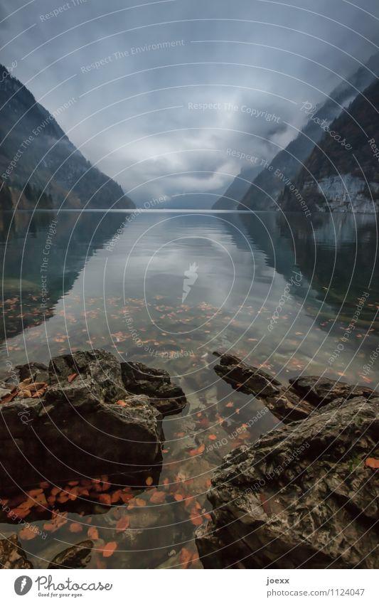 Trübe Aussichten Natur Ferien & Urlaub & Reisen Wasser Einsamkeit rot Landschaft Wolken schwarz kalt Berge u. Gebirge Herbst grau Stein See braun Idylle