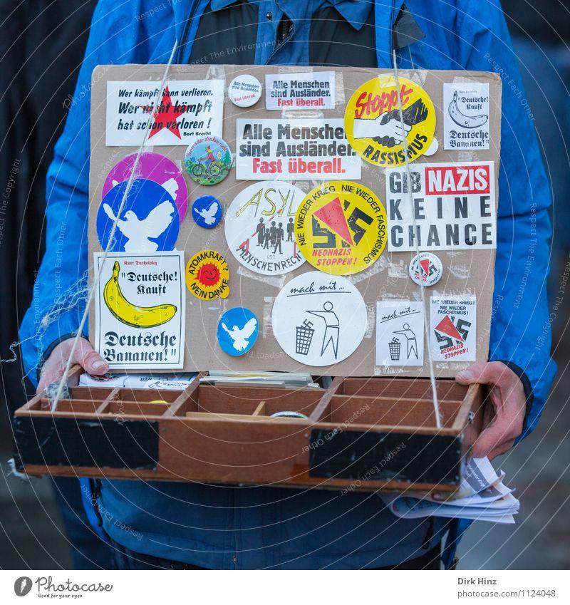 Jede Menge Sticker Mensch 1 authentisch außergewöhnlich blau gelb Gefühle friedlich Gastfreundschaft Menschlichkeit Solidarität Hilfsbereitschaft Verantwortung