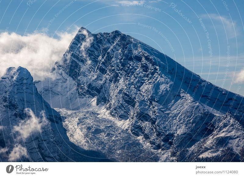 Wind, Schatten Landschaft Himmel Wolken Schönes Wetter Berge u. Gebirge Gipfel gigantisch groß hoch blau grau schwarz weiß Farbfoto Außenaufnahme Menschenleer