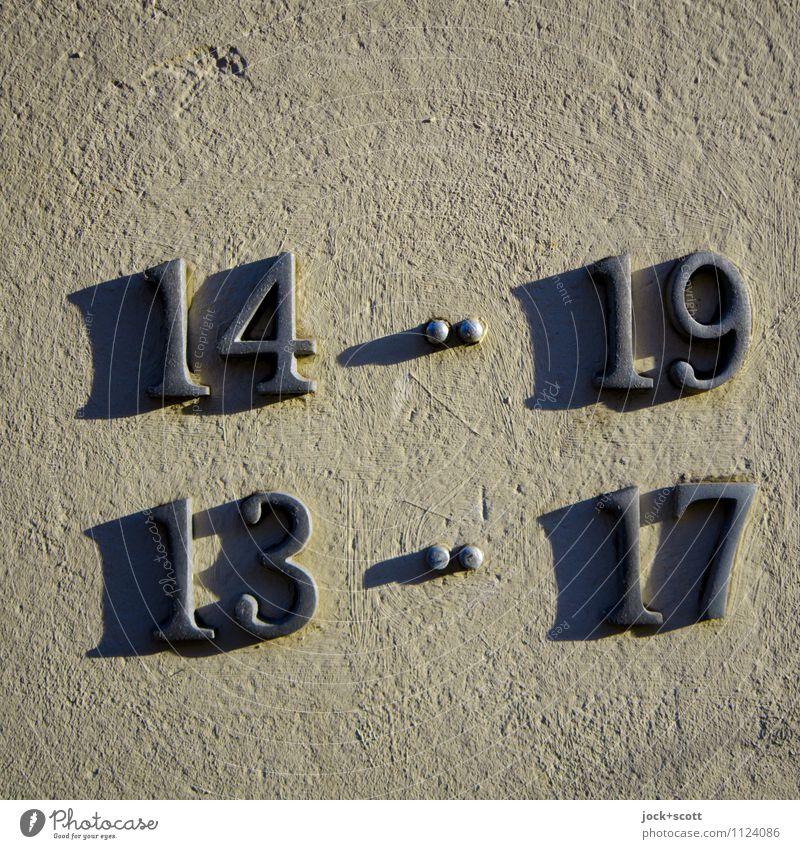 Zeitspanne Design Typographie Metall Ziffern & Zahlen Frist Zeitspuren einfach fest seriös braun Akzeptanz vernünftig Rechtschaffenheit Genauigkeit Mittelstand