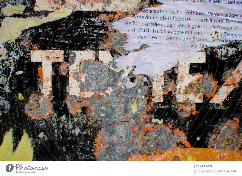 Texte aus der Vergangenheit Typographie Fetzen Lack Metall Kultur Termin & Datum Verfall Vergänglichkeit Wandel & Veränderung Zettel verwittert Zahn der Zeit