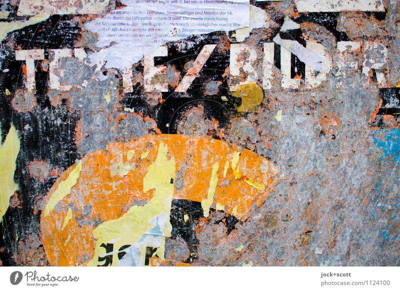 Texte und Bilder Stil Entertainment Veranstaltung Grafik u. Illustration Lack Fetzen Rest Metall Wort Großbuchstabe authentisch kaputt retro trashig Stimmung