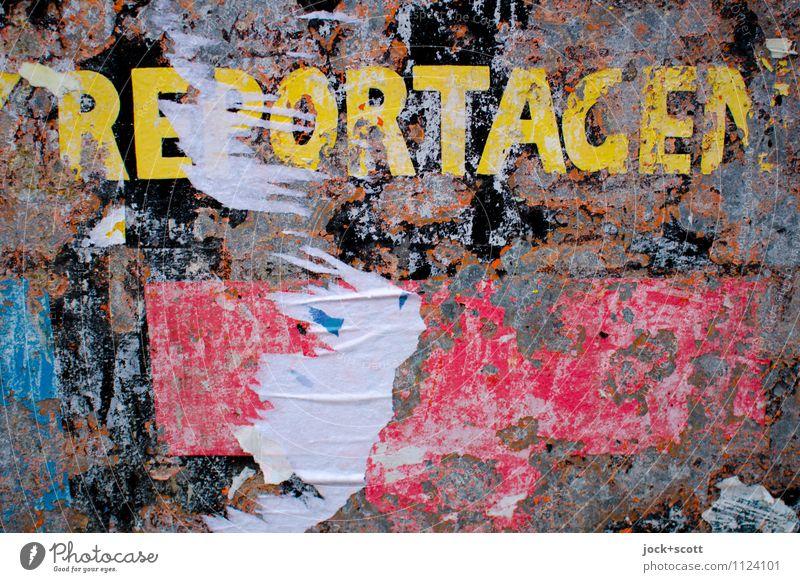 Reportagen aus der Vergangenheit Typographie Wort Großbuchstabe Ausdauer Kultur Termin & Datum Verfall Vergänglichkeit Wandel & Veränderung Zettel Zahn der Zeit