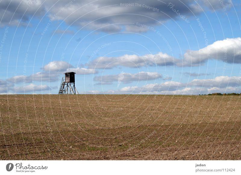 Strategischer Punkt Himmel blau weiß Wolken ruhig Einsamkeit Ferne Wiese Landschaft Horizont Raum Feld Hintergrundbild Wohnung Turm Häusliches Leben