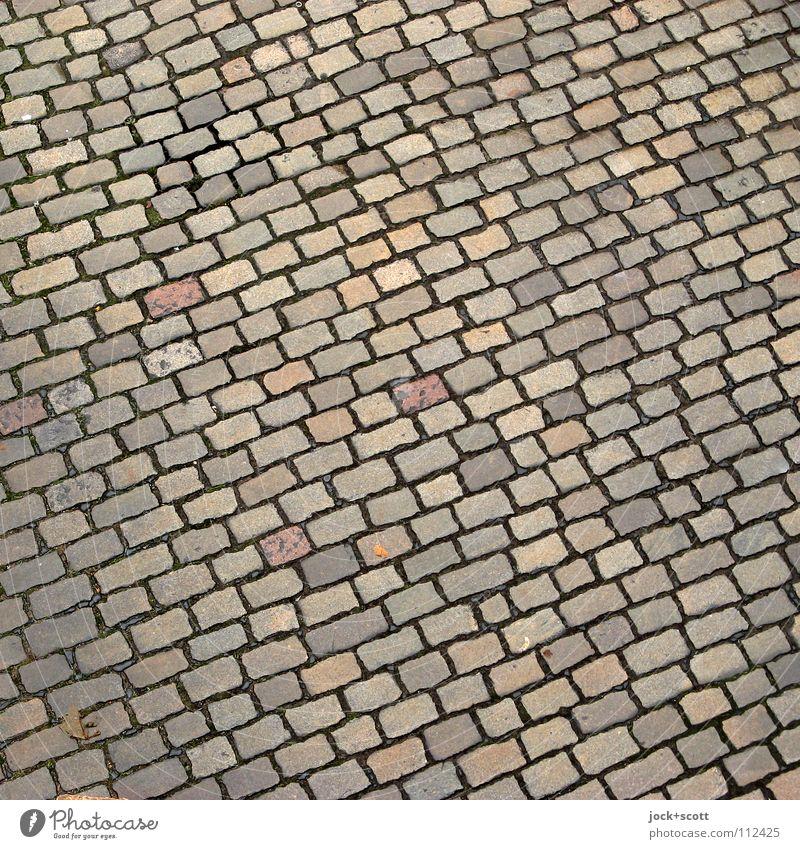 schräger Kopfstein im Quadrat Straße Stein Linie Ordnung mehrere Verkehr Perspektive Ecke rund Boden viele Teile u. Stücke Verkehrswege Reihe Verbindung Konstruktion