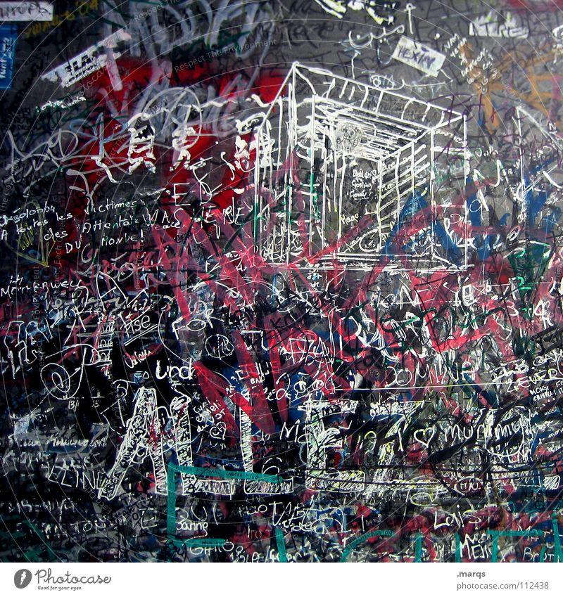 Even ED was here mehrfarbig Schriftzeichen Filzstift Wand durcheinander unordentlich Typographie Collage Plakette Straßenkunst Kunst Unterschrift schreiben
