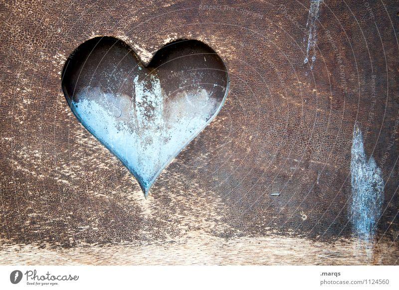 Von ganzem Herzen alt blau schön Liebe Gefühle Holz braun Vergänglichkeit retro Zeichen Romantik Partnerschaft Verliebtheit Valentinstag Treue