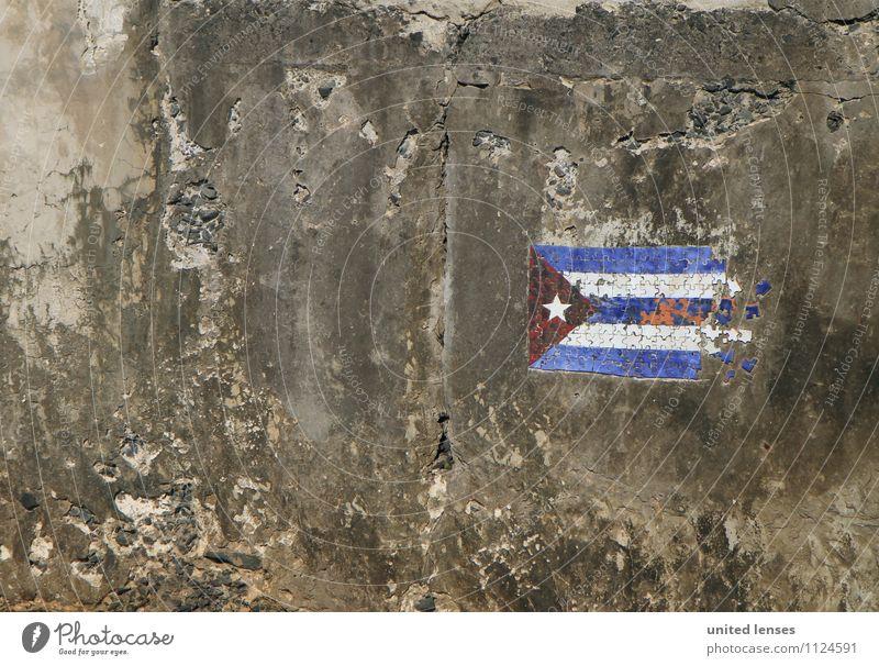 FF# Flagge zeigen Kunst Abenteuer ästhetisch Kuba Fahne Mauer Graffiti Symbole & Metaphern Beton Farbfoto Gedeckte Farben Außenaufnahme Detailaufnahme