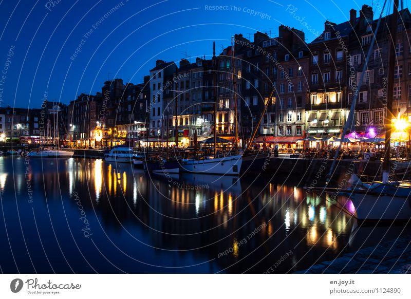Nachtleben Lifestyle Ferien & Urlaub & Reisen Tourismus Städtereise Sommer Sommerurlaub Nachthimmel Honfleur Normandie Frankreich Stadt Hafenstadt Altstadt