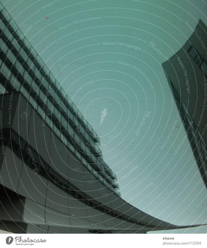 ::SUIT:DISTRICT:: Haus Gebäude Beton reich Hochhaus träumen verschoben Sog Spiegel Reflexion & Spiegelung Mobilität Fahrzeug falsch Kunst Stuttgart grau kalt