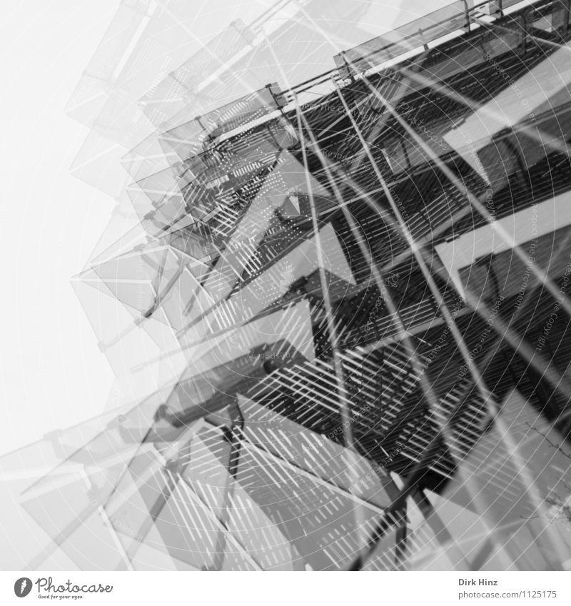 vielschichtig II Stadt Bankgebäude Industrieanlage Gebäude Architektur Fassade ästhetisch eckig verrückt grau Design Doppelbelichtung Surrealismus Stil Glas