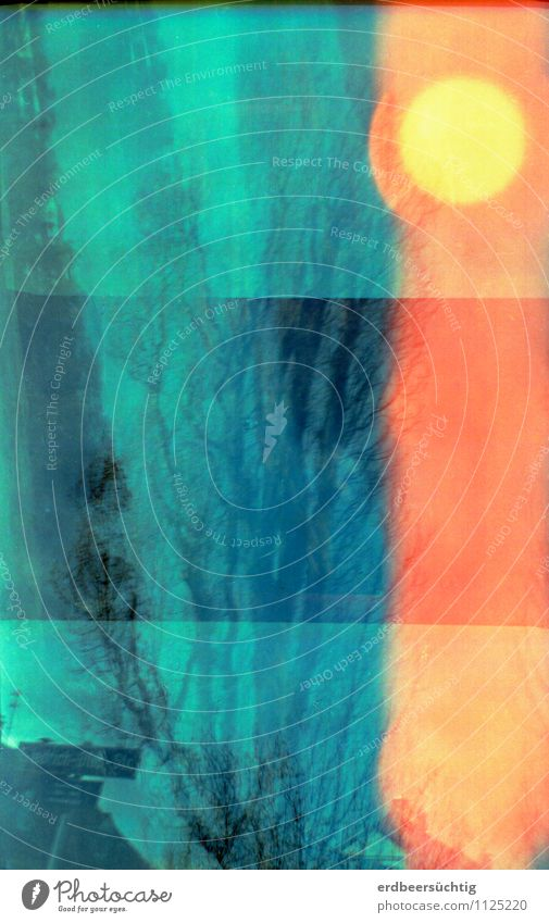 Blauer Tagtraum mit Fehlbelichtung Freiheit Himmel Sonne Sonnenlicht Mond Baum Dach schlafen außergewöhnlich retro blau orange Vorsicht Natur ruhig Irritation