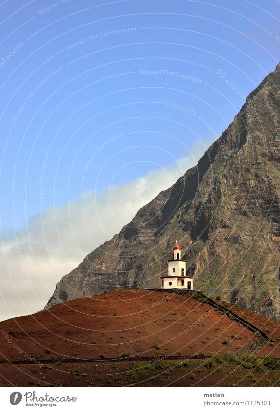 Hosianna Natur Landschaft Himmel Wolken Frühling Wetter Schönes Wetter Hügel Felsen Berge u. Gebirge Vulkan Menschenleer Kirche Treppe Wege & Pfade blau braun