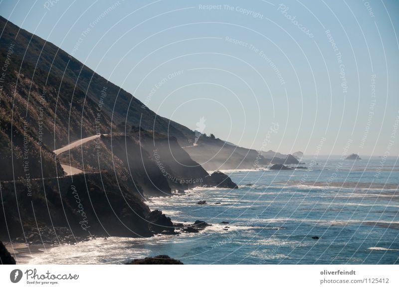 Kurve IV Himmel Natur Ferien & Urlaub & Reisen Sommer Wasser Sonne Meer Landschaft Ferne Umwelt Straße Küste Freiheit Horizont Freizeit & Hobby Erde