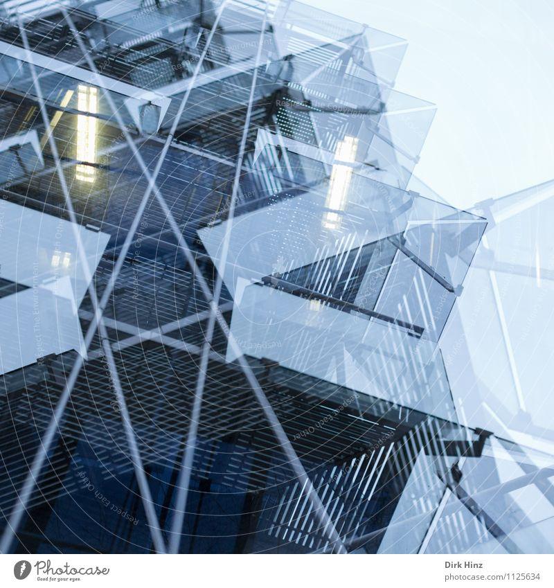 Beam me up! Geldinstitut Business Fortschritt Zukunft High-Tech Kunst Stadt Industrieanlage Architektur Fassade blau ästhetisch bizarr Design einzigartig