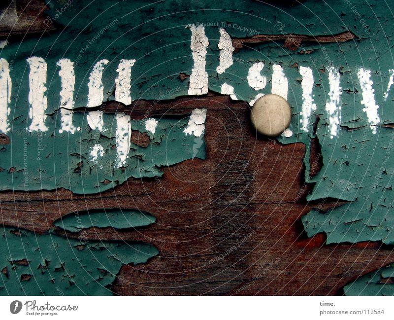 Kleingartensiedlungsentréedetail (II) alt weiß grün Farbe Holz braun Wetter Schilder & Markierungen Vergänglichkeit verfallen Holzbrett Nostalgie Riss vergessen