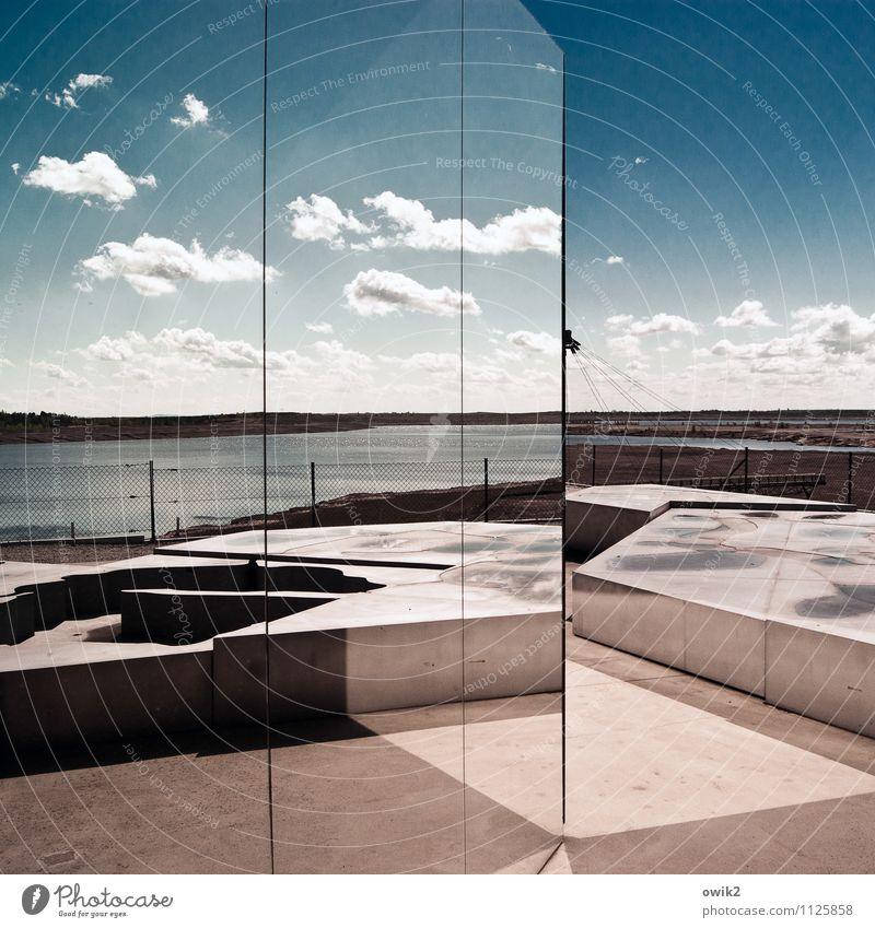 Spiegelfront Kunstwerk Umwelt Natur Landschaft Himmel Wolken Horizont Klima Wetter Schönes Wetter See Großräschener See Lausitz Bauwerk Architektur Glas
