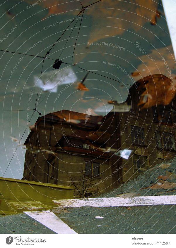 ::4:KALLE:ERINNERUNG:: Herbst mehrfarbig Blatt Sturm nass Pfütze Haus Gebäude laublos gestalten Zickzack Lastwagen Beton Müll Karavane Reflexion & Spiegelung