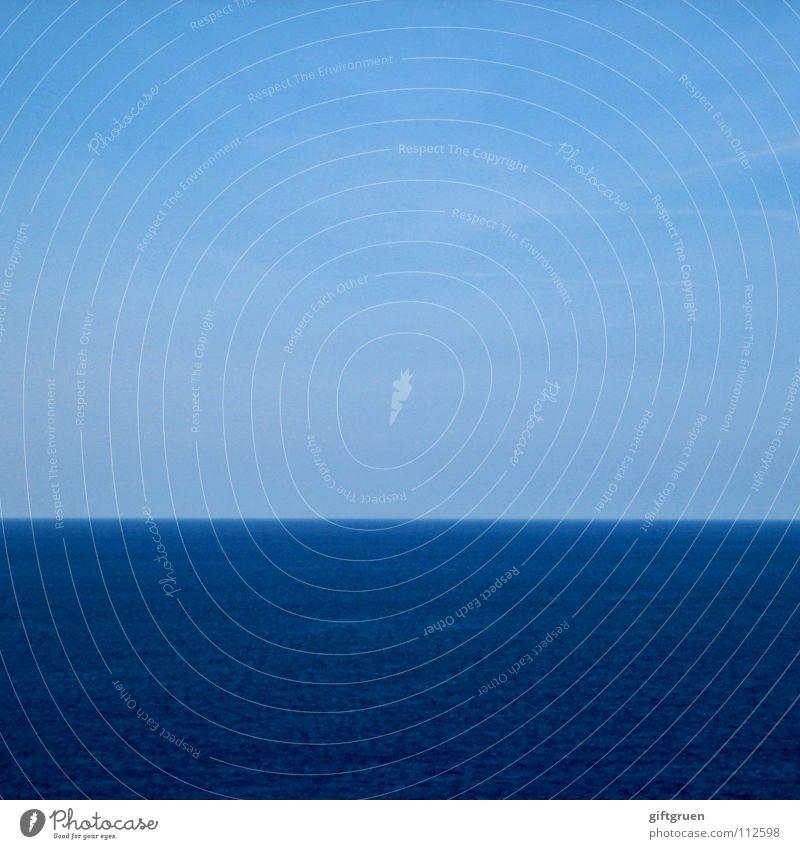 fifty-fifty oder: halbe sachen Horizont Meer Streifen gestreift minimalistisch Himmel Sommer Wasser blau fifty fifty Schönes Wetter wallpaper