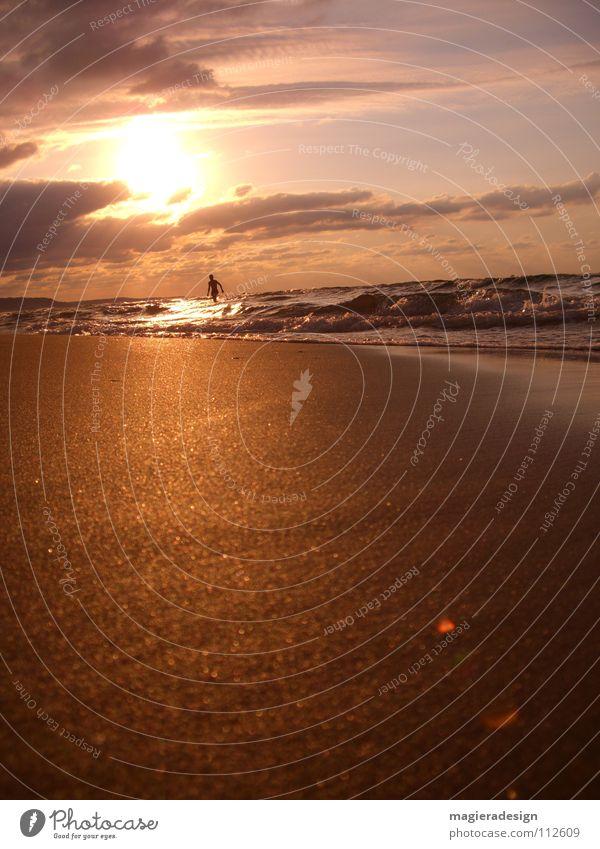 Strandläufer Meer Physik Abenddämmerung Sonnenuntergang rot gelb Wolken Türkei Istanbul nass Erholung Reflexion & Spiegelung Sand Läufer Wärme orange