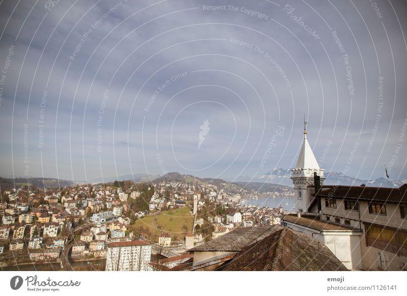 Lucerne Umwelt Natur Himmel Schönes Wetter Stadt Haus alt einzigartig Luzern Farbfoto Außenaufnahme Menschenleer Tag Panorama (Aussicht) Weitwinkel