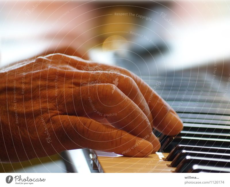 Hand eines Senioren spielt Klavier Musik Mann Männlicher Senior Keyboard alt Orgel Klaviatur Tasteninstrumente Akkord Mensch