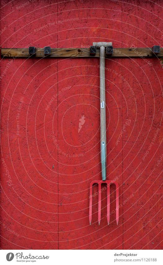 Rot auf Rot. Gartenarbeit Arbeitsplatz Landwirtschaft Forstwirtschaft Dorf Mauer Wand Arbeit & Erwerbstätigkeit wählen alt ästhetisch authentisch Gefühle