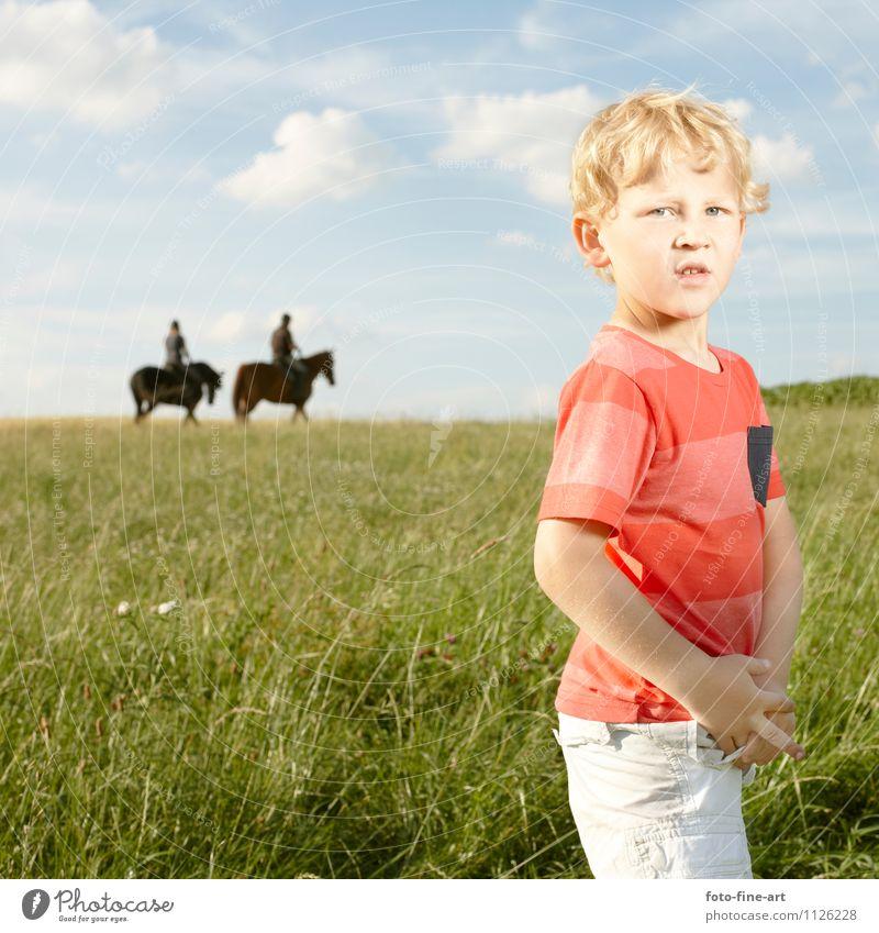 Junge maskulin Kind Kindheit 1 Mensch 3-8 Jahre Landschaft Himmel Wolken Sommer Gras blond Locken Pferd 2 Tier Abenteuer Reiter Feld Farbfoto Außenaufnahme Tag