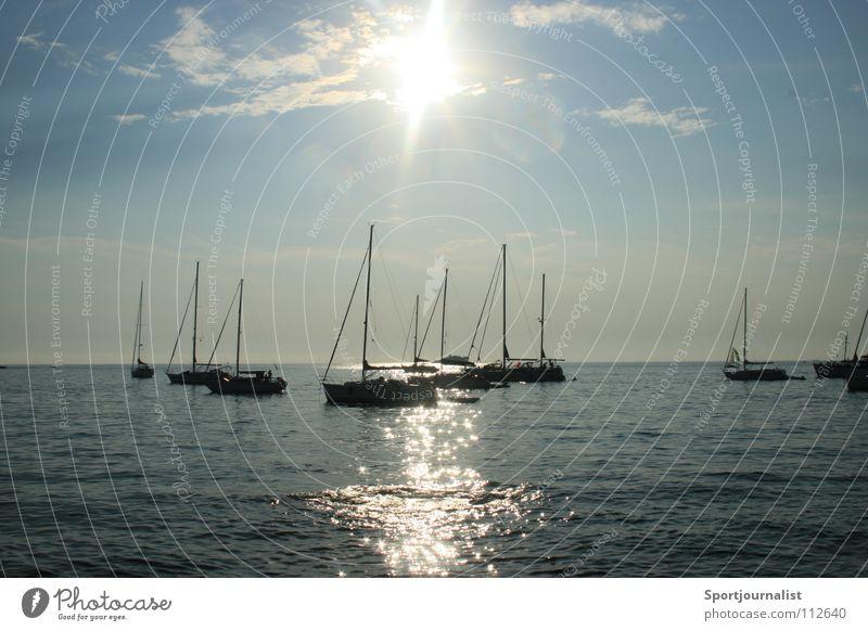 sun is shining Meer Wasserfahrzeug Horizont Segelboot Rovinj Kroatien Ferien & Urlaub & Reisen Abend Sommer Sonne Himmel