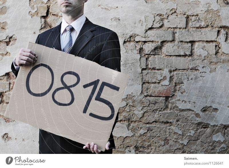 business as usual Mensch maskulin Mann Erwachsene Körper Gesicht 1 30-45 Jahre Mauer Wand Fassade Mode Hemd Anzug Krawatte stehen natürlich Gefühle