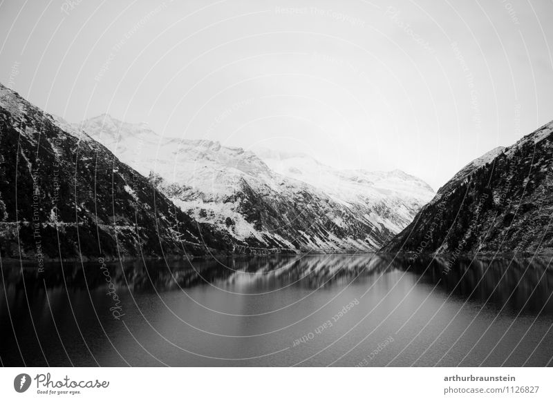 Stausee im Zillertal im Winter Freizeit & Hobby Angeln Ferien & Urlaub & Reisen Tourismus Ausflug Schnee Winterurlaub Berge u. Gebirge Wasserkraftwerk Umwelt