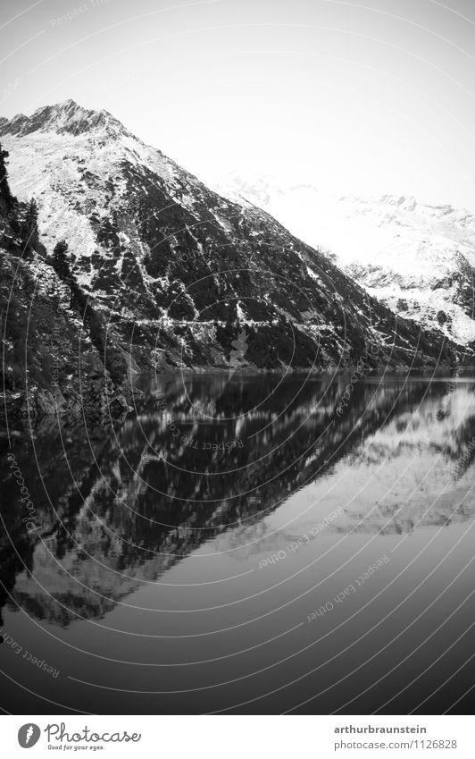 Stausee im Zillertal Himmel Natur Ferien & Urlaub & Reisen Landschaft ruhig Winter Berge u. Gebirge Umwelt Bewegung Schnee Gesundheit Freiheit Stein Felsen