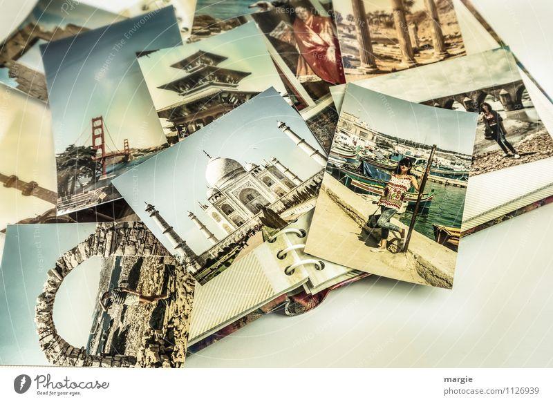 Reisefieber: Ein Fotoalbum mit vielen Reisefotos einer jungen Frau Ferien & Urlaub & Reisen Tourismus Ausflug Abenteuer Ferne Sightseeing Städtereise Sommer