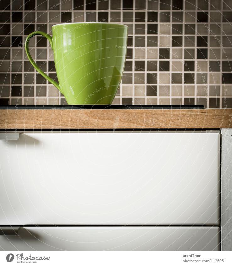 KitchenStories_Dishes grün weiß ruhig Innenarchitektur Holz grau braun Wohnung Häusliches Leben Dekoration & Verzierung Küche Wellness Fliesen u. Kacheln Tasse