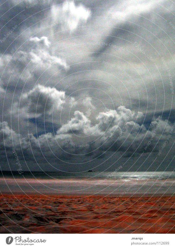 Mit Wellen, Stürmen, Schütteln, Brand... Wasser Meer Strand Ferien & Urlaub & Reisen ruhig Einsamkeit Ferne dunkel träumen Sand Zufriedenheit Stimmung Küste