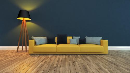 gelber Sitz mit dunkler Wand blau Pflanze schön Erholung Haus dunkel Architektur Stil Kunst Wohnung Design elegant Tür modern stehen