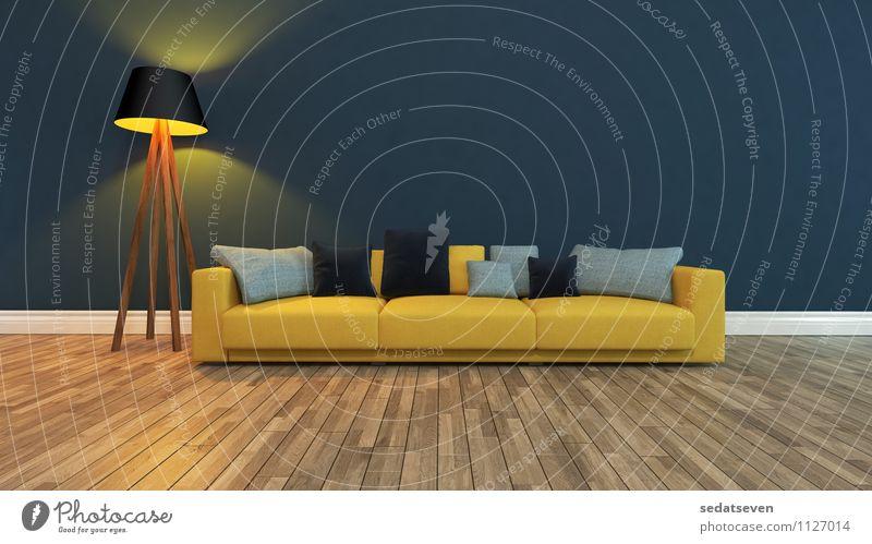 gelber Sitz mit dunkler Wand elegant Stil Design schön Erholung Wohnung Haus Möbel Sofa Wohnzimmer Kunst Pflanze Architektur Tür stehen dunkel modern blau