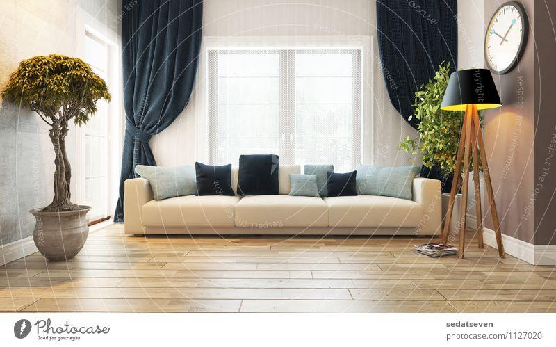 Wohnzimmer Design elegant Stil schön Erholung Wohnung Haus Möbel Sofa Kunst Pflanze Architektur Tür Beton beobachten stehen modern grau grün bequem Wand