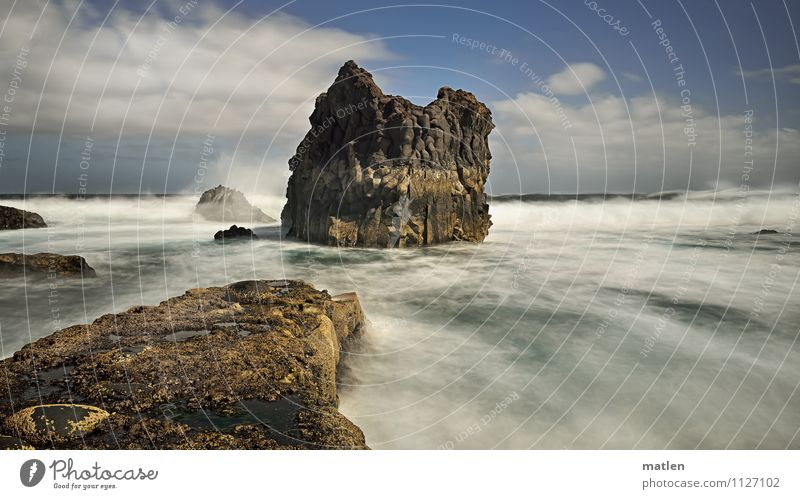 flow Himmel Natur blau grün Wasser weiß Meer Landschaft Wolken Küste braun Felsen Horizont Wetter Wellen Wind