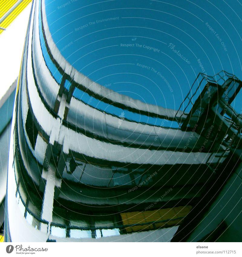 ::COLOUR IN THE CITY:: Gebäude Haus Arbeit & Erwerbstätigkeit Sprungbrett Verzerrung Motorhaube rund grau gelb weiß knallig Beton Kunst Fahrzeug Spiegel